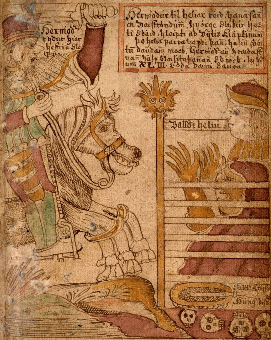 Illustration of Odin and his horse Sleipnir from an Icelandic 18th century manuscript
