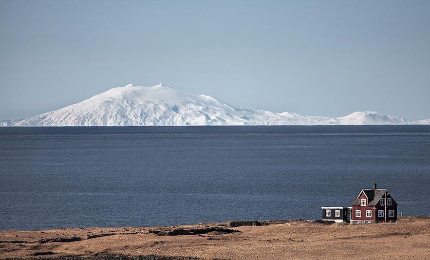 Snaefellsjokull glacier in Iceland as seen across the seas on a clear winter day.