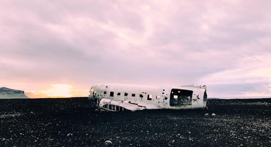 The crashed DC-3 plane wreck sits on Solheimasandur.