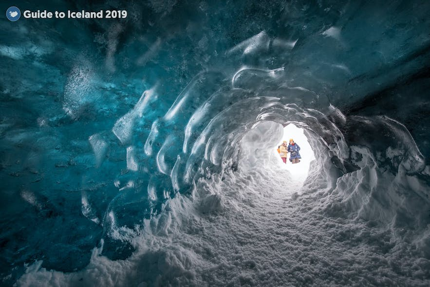 A magical tunnel cuts into an ice cave.