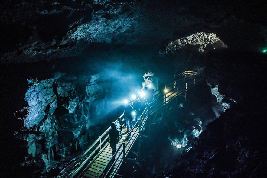 Colourful display inside Víðgelmir cave in Iceland