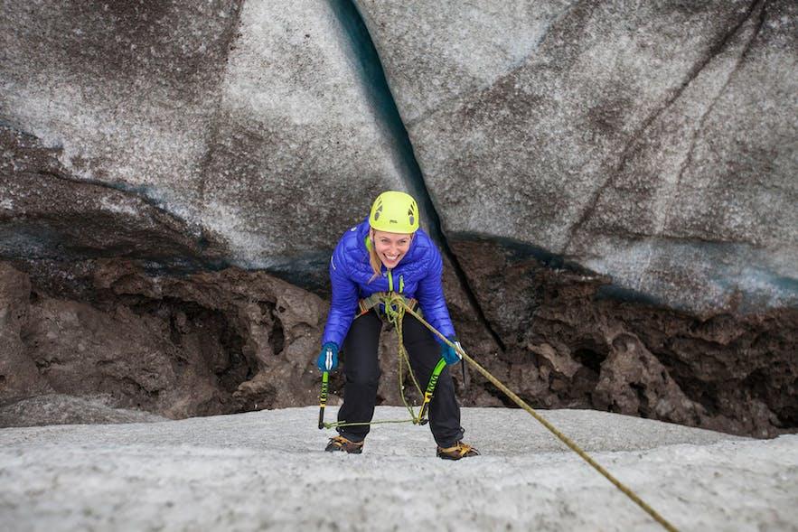 An ice climber on Sólheimajokull