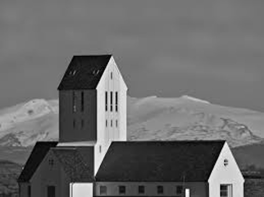 Hekla volcano as seen from behind Skalholt cathedral.