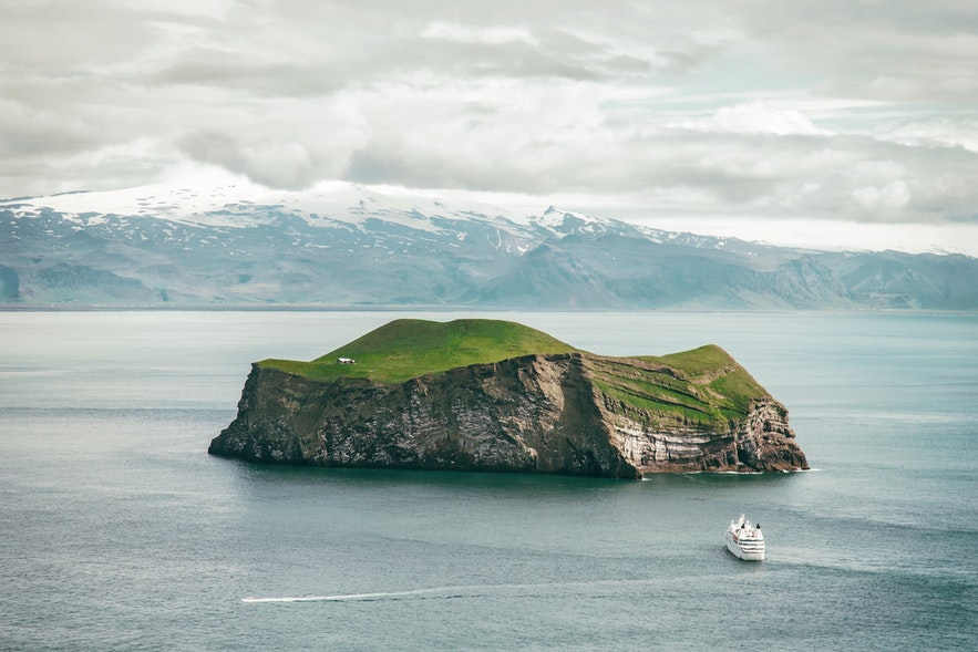 Heimaey is a volcanic island off South Iceland.