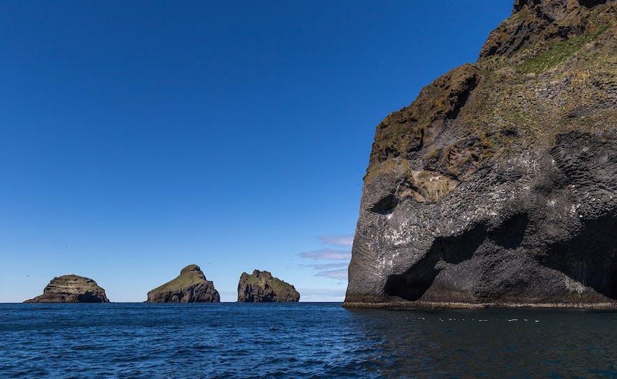 "Herjólfsdalur, ""Elephant Rock"", can often be seen on trips to the Westman Islands."