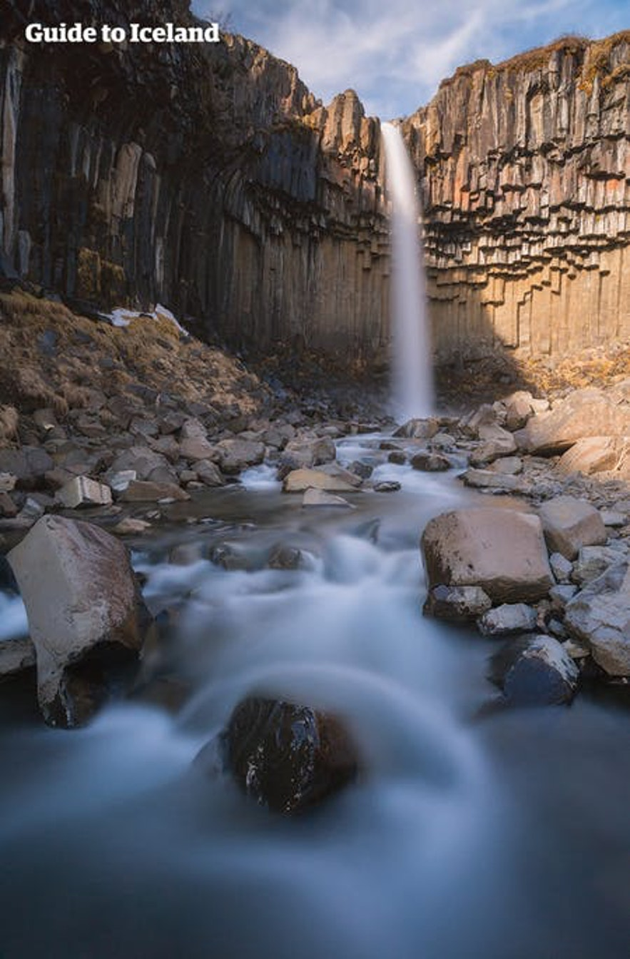 Svartifoss waterfall is just one incredible place accessible to those with accommodation in or near Skaftafell.