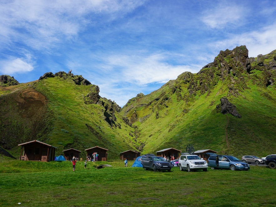 A campsite near the highlands of Iceland.