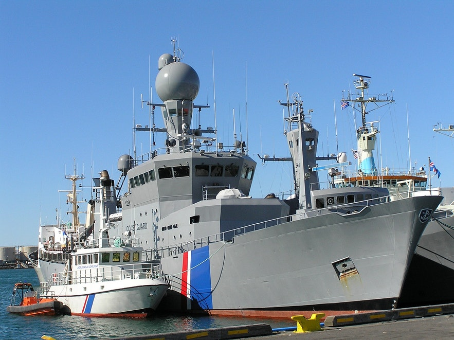 Iceland's coast guard uses ships and helicopters.