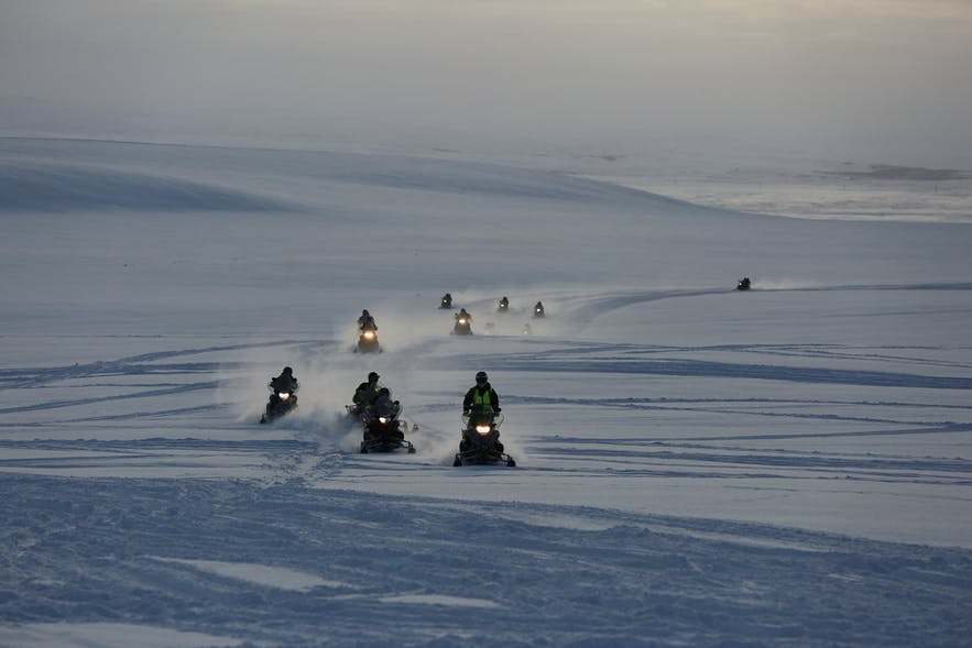 Snowmobiling is a common recreational activity in Iceland.