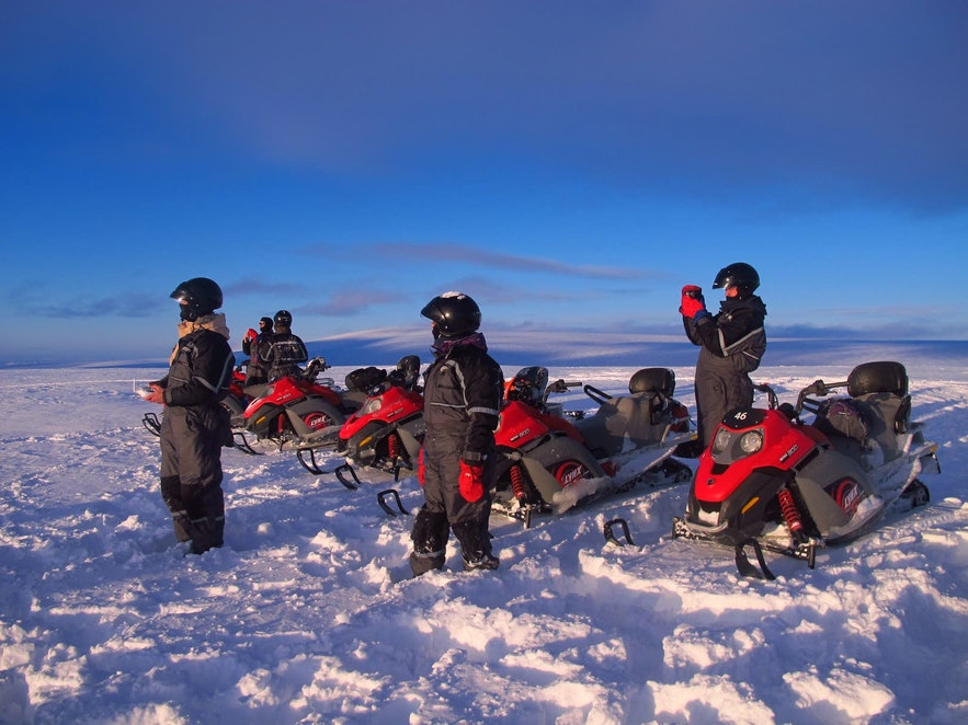 Snowmobiles in Iceland can be ridden individually or in pairs.