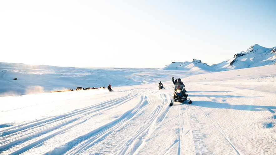 The mighty Langjokull glacier is great for snowmobiling.
