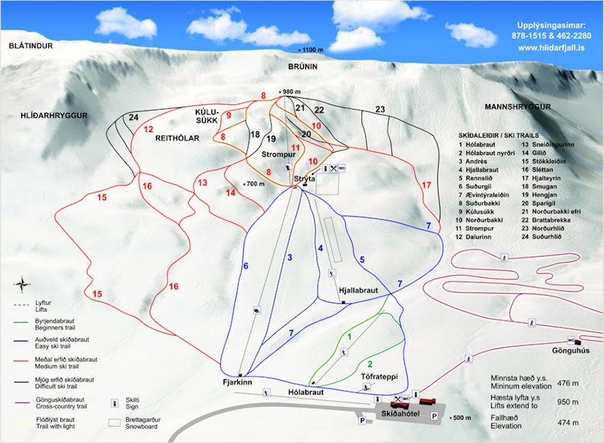 A map of the Hlidarfjall ski resort.