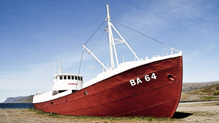 A fishing boat washed ashore in Iceland.