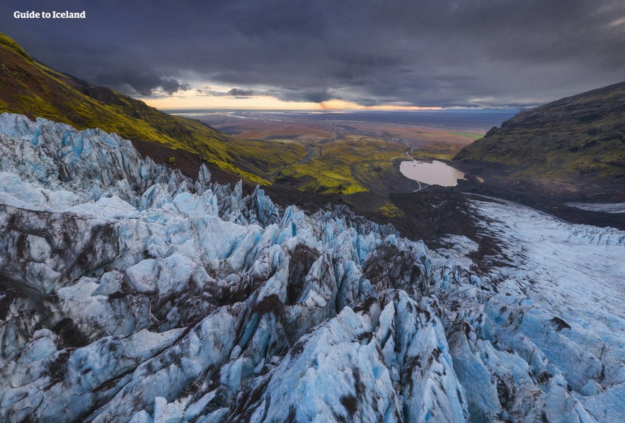 Glaciers are vibrantly coloured in Iceland.