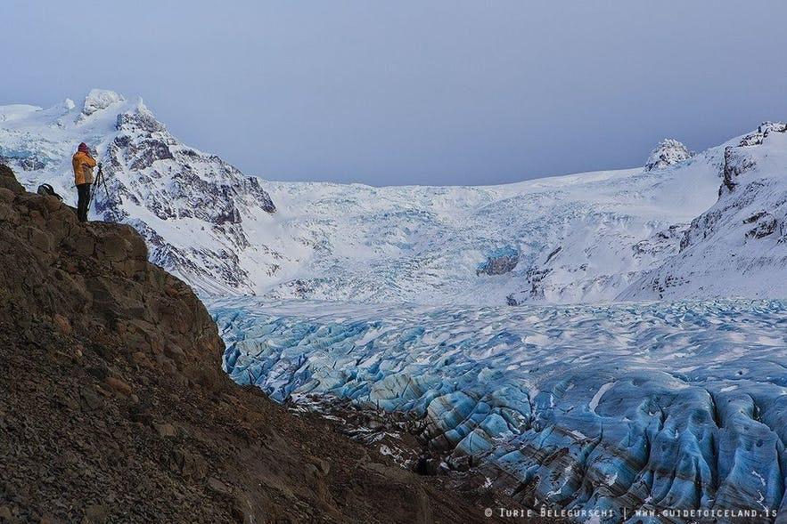 Svinafellsjokull in south Iceland in fair weather.