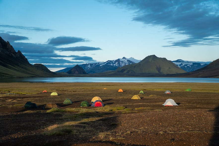 Camping is a favourite summer activity in Iceland.