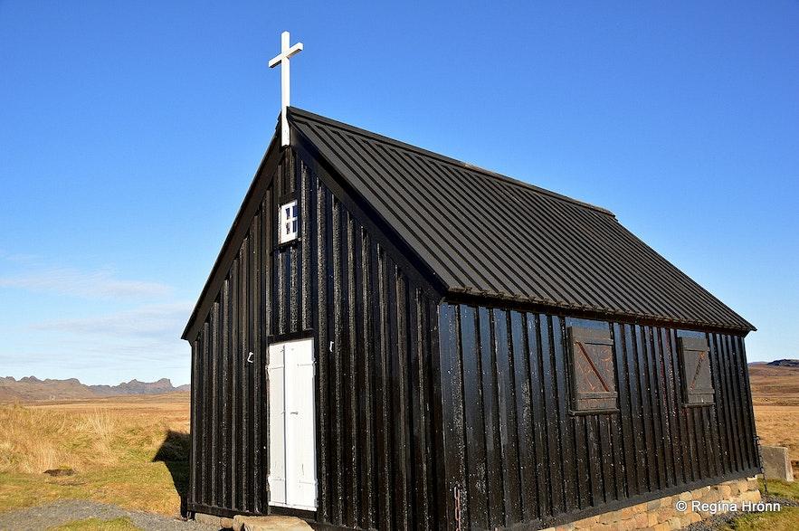 The new Krýsuvíkurkirkja church on the Reykjanesskagi peninsula