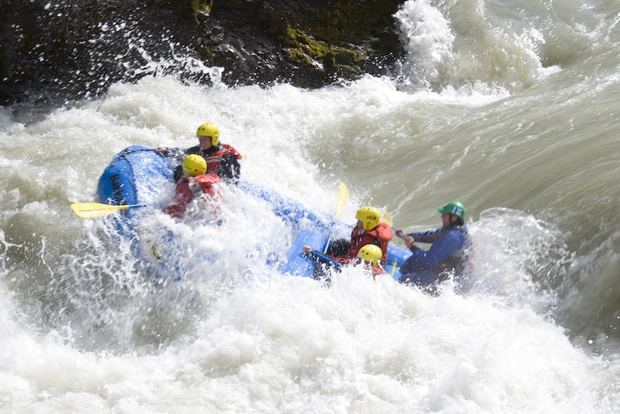 Rafters fight against the river's mighty currents.