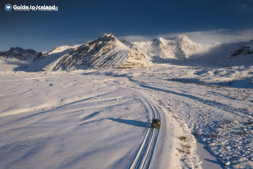 Winter tyres are needed to navigate Iceland's icy roads.