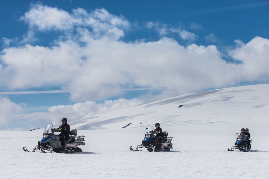 Zipping across a glacier on a snowmobile is a fun and thrilling way to enjoy a day in Iceland.