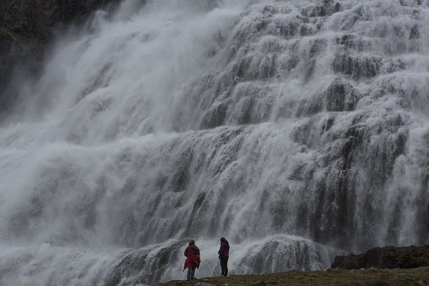 The incredible Dynjandi waterfall on a misty day in the Westfjords.