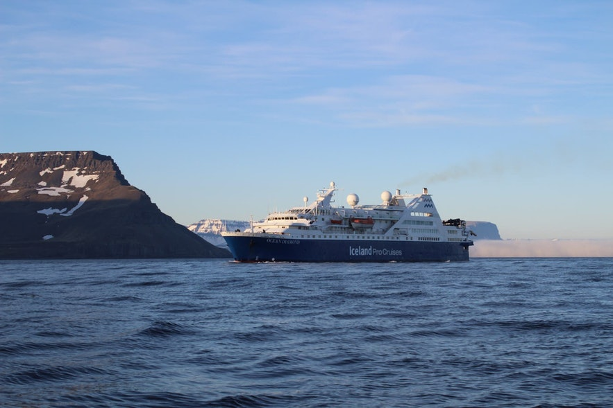 Cruise ships are common around Iceland in summer.