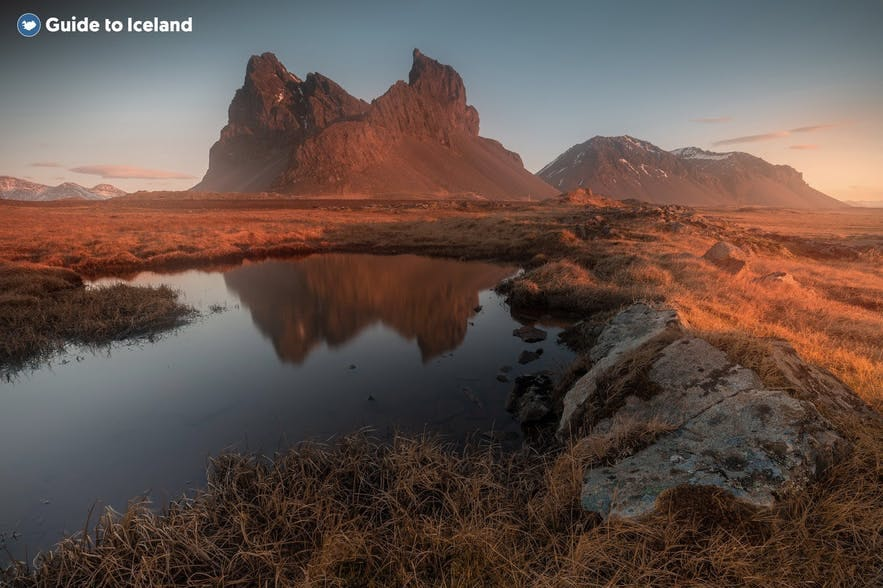 The east of Iceland has striking mountains.