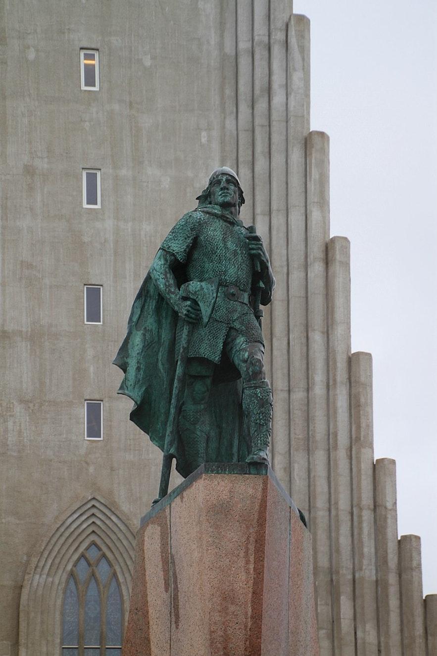 Leifur Eriksson's statue stands tall in Reykjavik.