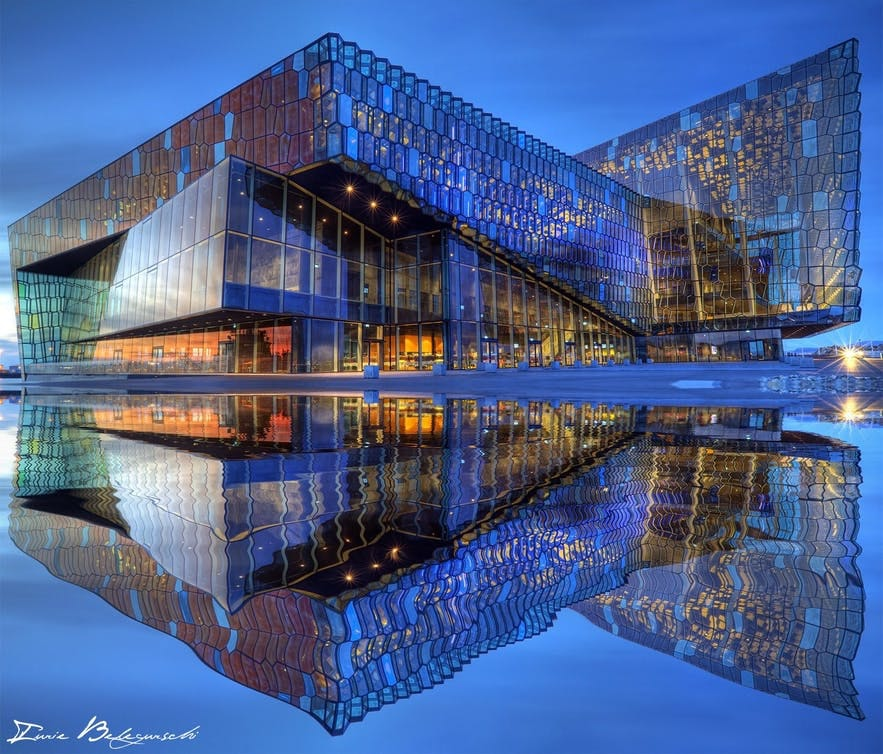 By the harbour of Reykjavik is the Harpa Concert Hall.