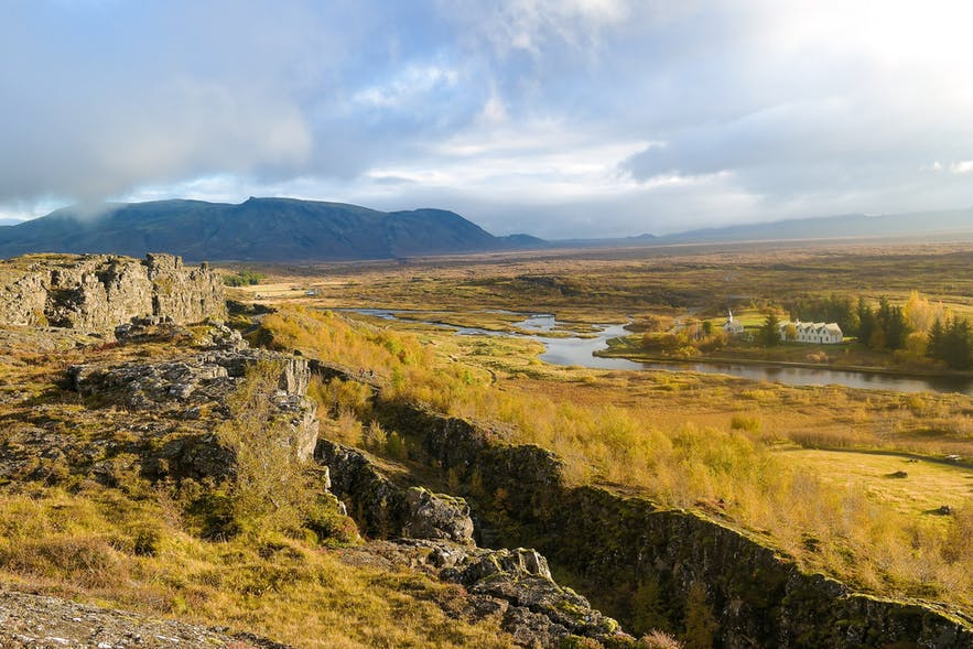 The gorge at Thingvellir marks the edge of North America.