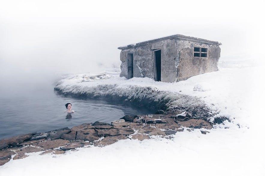 The Secret Lagoon at Flúðir is just a short way from Gullfoss.