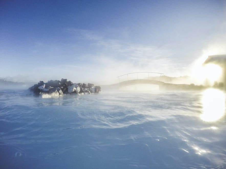 Relaxing in the soothing warm water of the Blue Lagoon