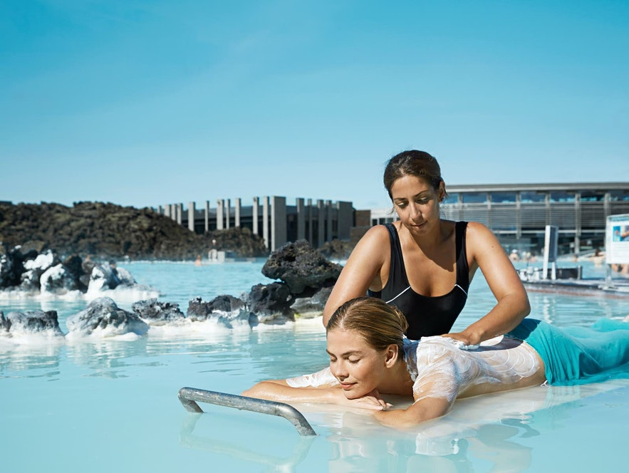Getting a Blue Lagoon massage, whilst floating in the lagoon itself