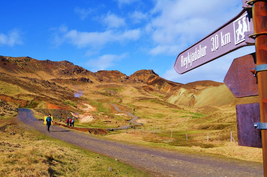 A path leads to the Reykjadalur hot spring valley.