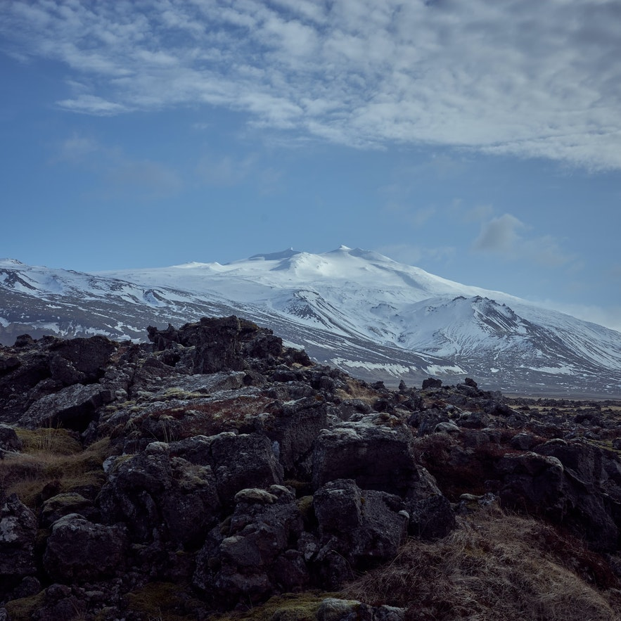 Snæfellsjökull glacier is on top of a volcano and can be seen from Reykjavík