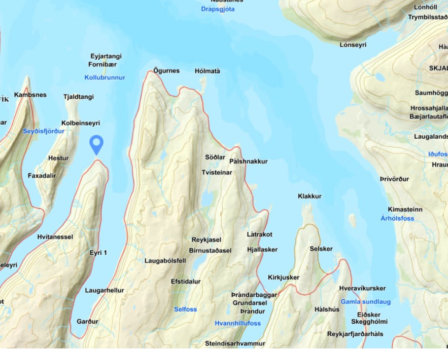 A map of the right location of Hvitanes Westfjords of Iceland