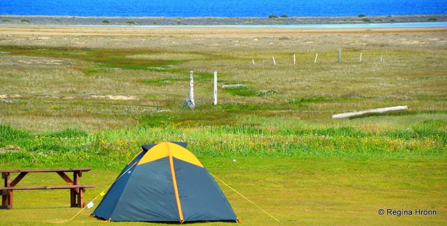 The camping area at Breiðavík Westfjords of Iceland