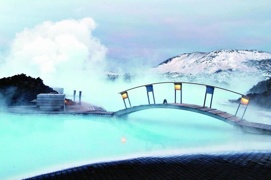 The Blue Lagoon is just one of many romantic hot pools in Iceland.