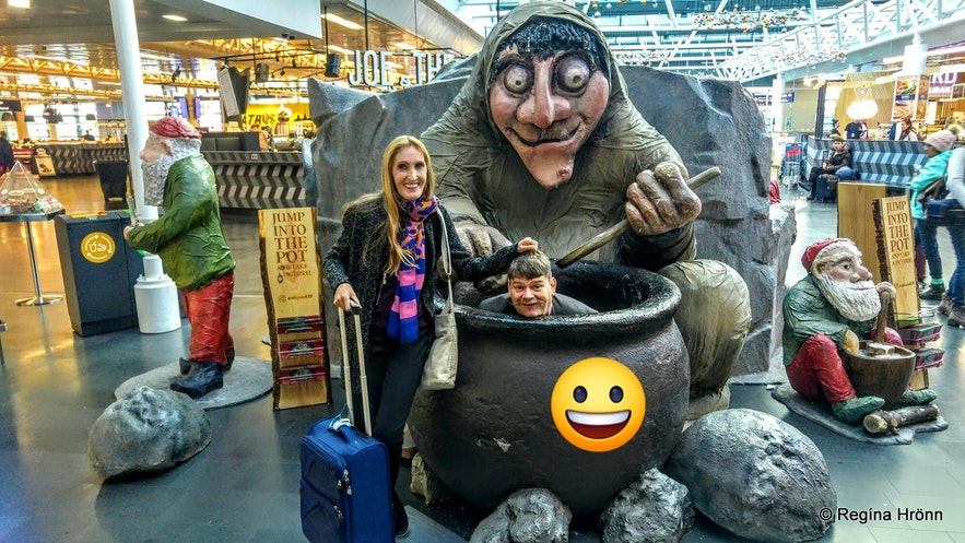 Grýla and her cauldron at the Keflavík airport in Iceland