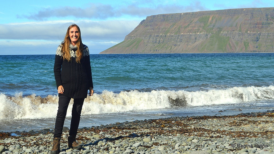 Regína on the beach of Ingjaldssandur Westfjords of Iceland