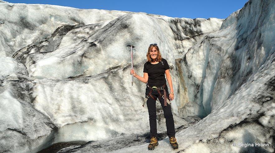 Regína on a Sólheimajökull hike South-Iceland