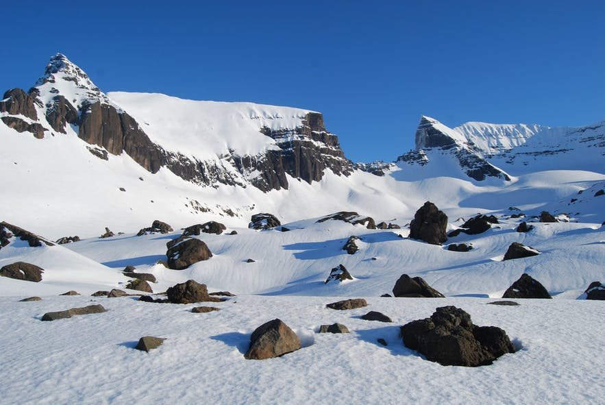 The incredible landscapes of Dyrfjöll mountains.