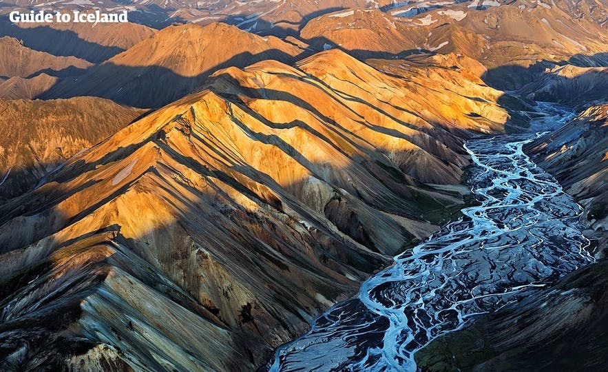 Rivers snake through Iceland's highland areas.