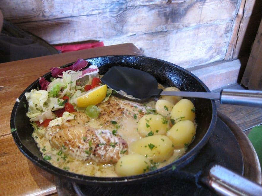 Beautifully served and garnished Plokkfiskur.