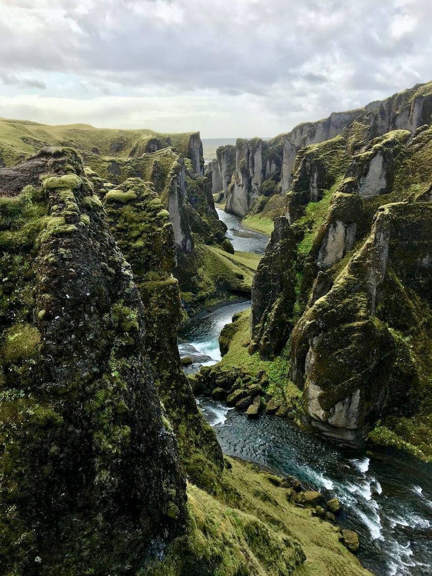Fjaðrárgljúfur in South Iceland is a mystical canyon.