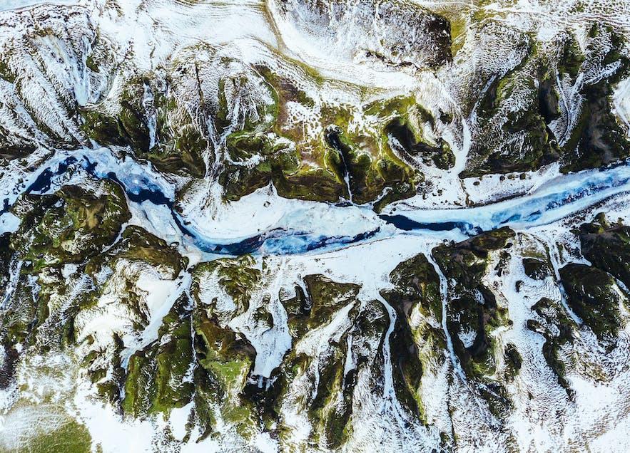 Fjaðrárgljúfur canyon during winter.