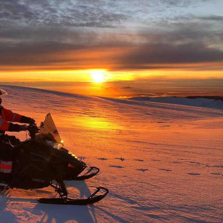 Snowmobiling Tour on Eyjafjallajokull glacier,  Thrilling 3 Hour snowmobiling with Transfer from Glj