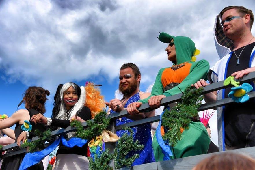 Drag performers on a float at Reykjavik Pride.
