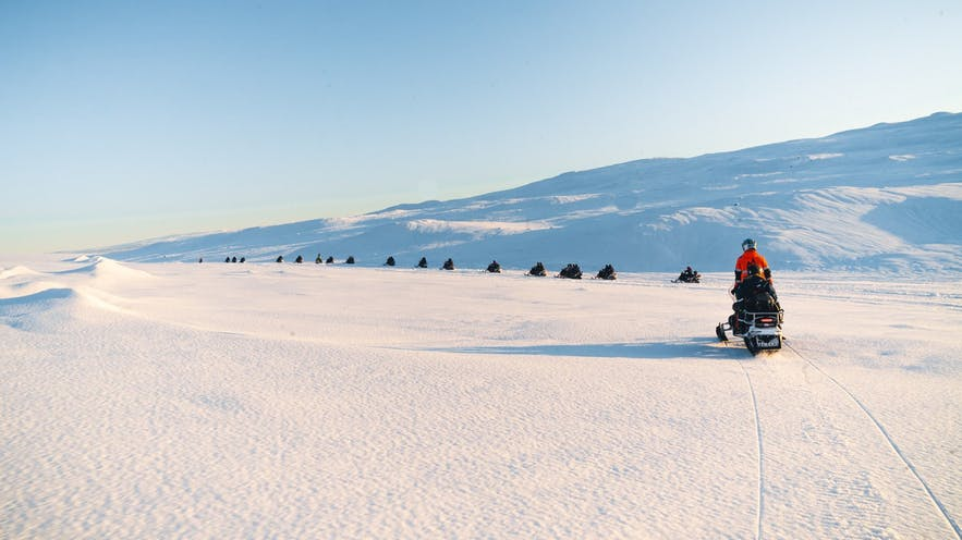 Snowmobiling in Iceland is a great way to spend time with family and friends.