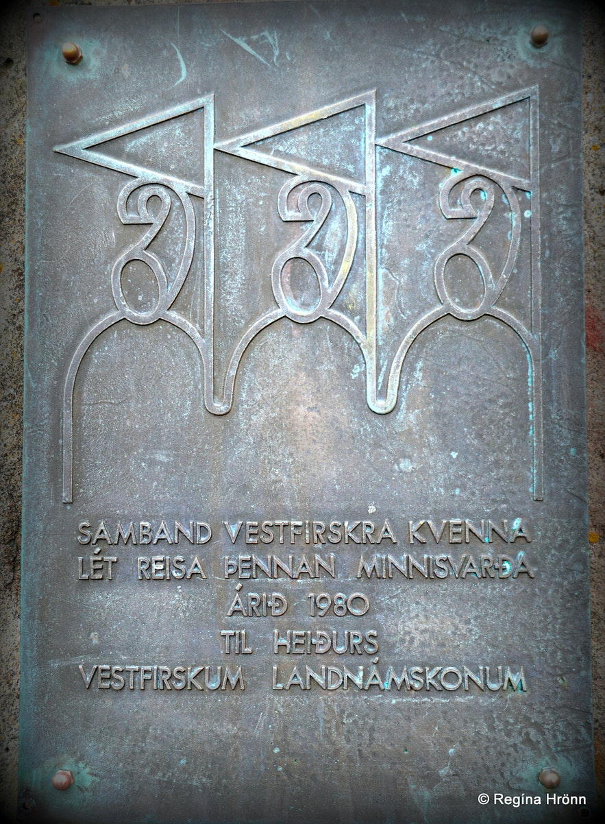 Kambsnes view-point monument of Settler women in the Westfjords